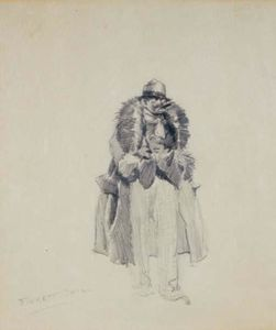Study of a man in a fur collared coat smoking a cigar