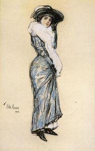 Portrait of a Lady in Blue Dress