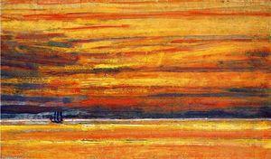 Sailing Vessel at Sea, Sunset