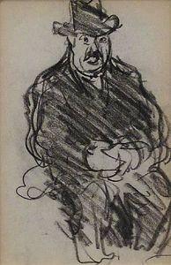 sitzend mann mit hut figur studie