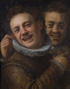 Deux hommes loughing double autoportrait
