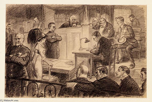 Before Her Makers and Her Judge, Illustration for ''The Masses'', August 1913