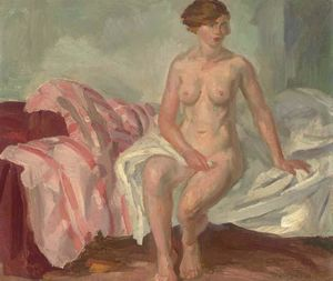 Nude, Pink Striped Coverlet