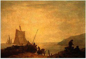 Fishermen hauling a boat to shore, Devon