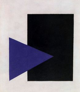 Supremtist Painting. Black Rectangle, Blue Triangle