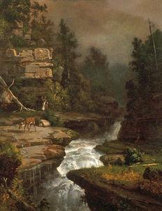 Deer by a Waterfall