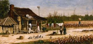 Cabin Scene With Birdhouse, Chickens And Cotton Picker Carrying Basket Of Cotton
