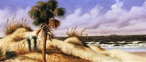 Florida Seascape with Sand Dune, Palm Tree, and Steamship