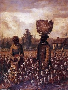 Negro Man and Woman in Cotton Field with Cabin