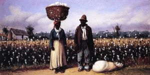 Negro Man and Woman in Cotton Field with Cotton Basket and Cotton Bag