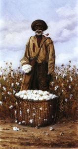 Negro Man In Cotton Field With Basket Of Cotton 1