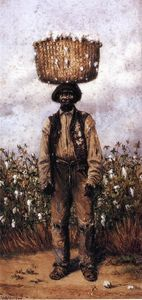 Negro Man in Cotton Field with Basket of Cotton on Head