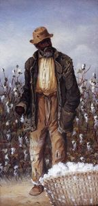 Old Negro Man with Basket of Cotton