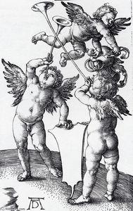 Tres Putti con escudo y casco