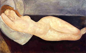 Reclining Nude, Head on Right Arm