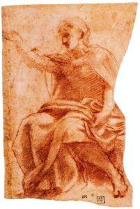 Seated male figure in profile, Idem