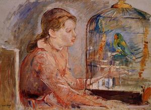 Young Girl and the Budgie
