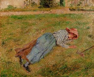 Resting, Peasant Girl Lying on the Grass, Pontoise