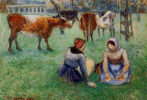 Seated Peasants Watching Cows