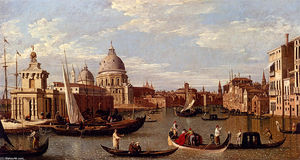 View Of The Grand Canal And Santa Maria Della Salute With Boats And Figures In The Foreground, Venice