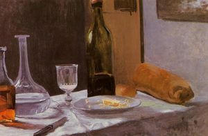 Still Life with Bottle, Carafe, Bread and Wine