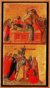 La Maestá. El sepelio de Cristo y El descendimiento de la Cruz