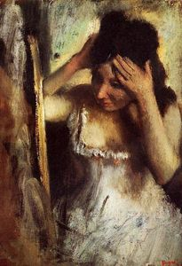 Woman Combing Her Hair before a Mirror