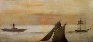 Boats at Sea, Sunset