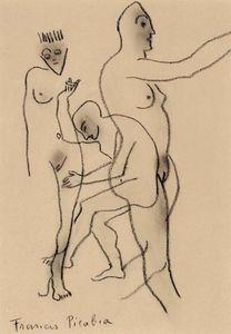 Trois personnages nus