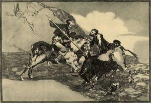 Modo con que los antiguos españoles cazaban los toros á caballo en el campo