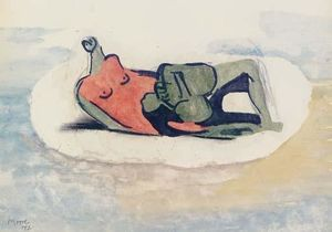 Reclining Figure in Red and Green