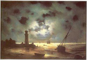 Coast of sea at night