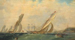 Frigate on a sea