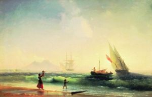 встреча в рыбаков на берегу неаполитанского залива