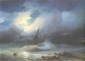 Rough sea at night