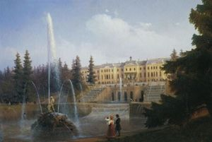 View of the Big Cascade in Petergof and the Great Palace of Petergof