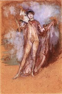 Grey and Pink, a Draped Model with Fan