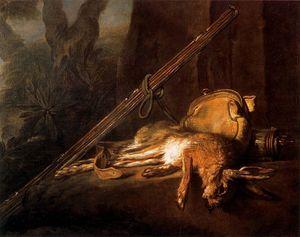 Lapin mort Avec Une perdrix rouge et juin bigarade