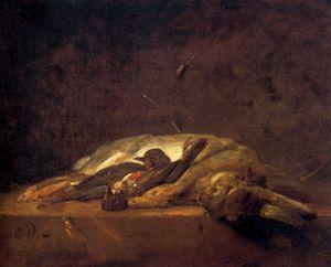 Un lapin, deux grives mortes et quelques brins de paille sur une table de pierre