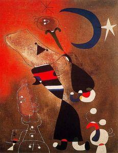 Mujer y pájaro al claro de luna