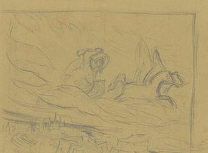 Cursory sketch of rider in chariot over city