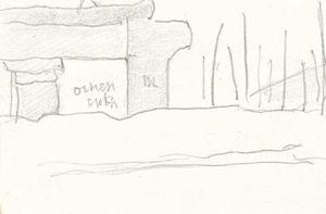 Cursory sketch with building