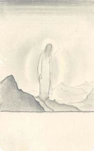Sketch of Christ amidst mountains