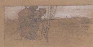 Sketch of hunting scene