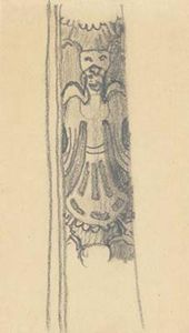 Sketch of ornamental figure with wings