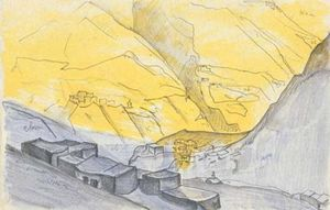 Sketch of Thubchiling village in Lahul