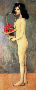 Muchacha joven desnuda con canasto de flores
