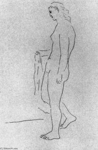 Mujer desnuda de pie con una toalla 1