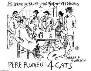 Picasso attablé à ''Els Quatre Gats''