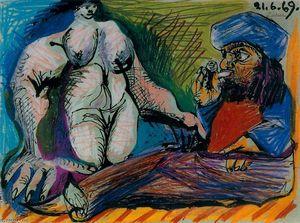 Smoker and a naked woman